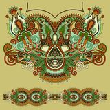 Neckline ornate floral paisley embroidery fashion Stock Photo
