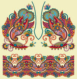 Neckline ornate floral paisley embroidery fashion Stock Image