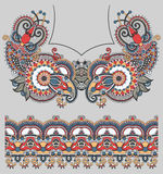 Neckline ornate floral paisley embroidery fashion. Design, ukrainian ethnic style. Good design for print clothes or shirt Royalty Free Stock Image