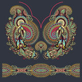 Neckline ornate floral paisley embroidery fashion Royalty Free Stock Photos