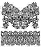 Neckline ornate floral paisley embroidery fashion. Design, ukrainian ethnic style. Good design for print clothes or shirt. Vector illustration on black color Stock Photography
