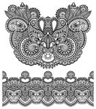 Neckline ornate floral paisley embroidery fashion. Design, ukrainian ethnic style. Good design for print clothes or shirt. Vector illustration on black color Stock Photos
