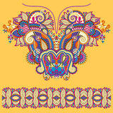 Neckline yellow ornate floral paisley embroidery Stock Image