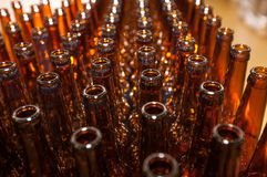 The necks of empty beer bottles, which will pour beer, top view. Brewery. The necks of empty beer bottles, which will pour beer, top view royalty free stock images