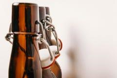 Necks of empty bottles with corks stock photo