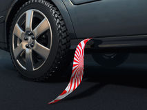 Necktie and car. Scene of the necktie hinging on car Royalty Free Stock Images