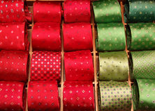 Necktie designer outlet shop. Rows of colorful fashionable and elegant ties. Man's wear Royalty Free Stock Photos