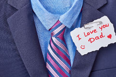 Necktie and Father`s Day card. Royalty Free Stock Photography