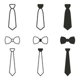 Necktie icon set. Necktie vector icons set. Black illustration isolated on white background for graphic and web design Stock Illustration