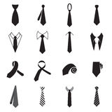 Necktie icons. Collection of men's tie icons isolated on a white background Royalty Free Stock Photos