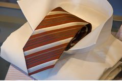 Necktie and shirt on display. Necktie and dress shirt on display in a shop Royalty Free Stock Images