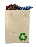 Necktie and shopping bag. Necktie in a shopping bag made from brown recycled paper stock photos