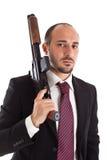 Necktie and shotgun. Armed Mobster or businessman with shotgun Stock Photos