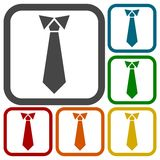 Necktie, vector illustration icons set Royalty Free Stock Images