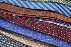 Neckties. A table of silk ties, close up Royalty Free Stock Photography