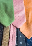 Neckties. Details of some colored neckties Stock Photography