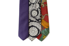 Neckties in different colors isolated on white Royalty Free Stock Image