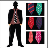Neckties with textures Stock Images
