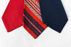 Neckties on White Cloth Royalty Free Stock Images