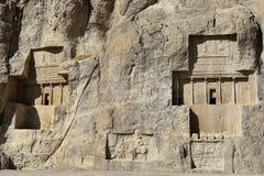 Necrópolis antigua en pares, Irán de Naqsh-e Rustam foto de archivo