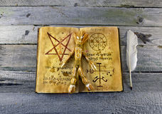 Necronomicon book with voodoo doll Stock Photography