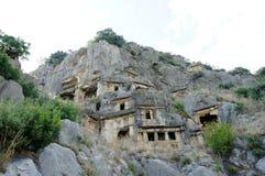 Necropol i Myra, Turkiet Arkivbild