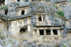 Necropol i Myra, Turkiet Arkivbilder