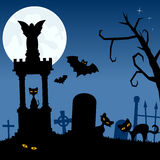 Necropolis with Black Cats and Bats Stock Image