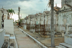 Necropolis de Camaguey Cuba. Cuban cemetery, tombstones in the Stock Image