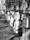 Necropolis Gdansk Zaspa, Poland. Artistic look in black and white. Royalty Free Stock Images