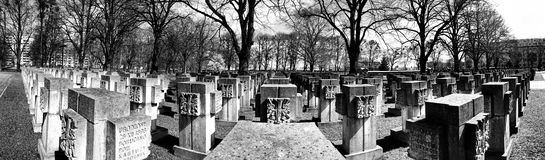 Necropolis Gdansk Zaspa, Poland. Panorama, artistic view in black and white. Royalty Free Stock Photography