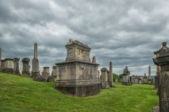 Necropolis, Glasgow, Scotland, UK, cemetery. Necropolis, Glasgow, Scotland, UK, tourism monument and atractions, cemetery, historic garden, summer and rainy Stock Images