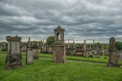 Necropolis, Glasgow, Scotland, UK, cemetery. Necropolis, Glasgow, Scotland, UK, tourism monument and atractions, cemetery, historic garden, summer and rainy Stock Image