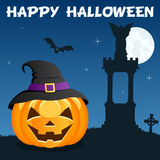Necropolis Halloween Pumpkin on Blue Stock Image