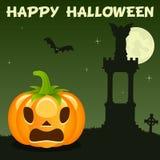 Necropolis Halloween Pumpkin on Green Royalty Free Stock Images