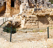 Necropolis and indigenous tomb stone archeology theater  in  my. Myra    in    turkey europe    old roman necropolis and indigenous tomb stone Stock Image