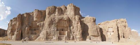 Necropolis, Naqsh-e Rostam, Iran, Asia. NAQSH-E ROSTAM, IRAN - OCTOBER 6, 2016: Necropolis of the Achaemenid kings in Naqsh-e Rostam on October 6, 2016 in Iran stock photo