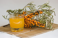Nectar from berries of sea-buckthorn berries. The Image of a glass with juice against sea-buckthorn berries branch Stock Image