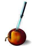 Nectarina y cuchillo Imagen de archivo