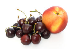 Nectarine and cherries Royalty Free Stock Photography