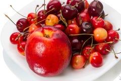 Nectarine and cherries Stock Photography
