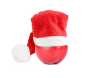 Nectarine in Christmas hat Stock Photography