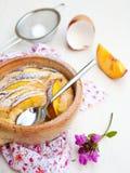 Nectarine clafoutis stock image