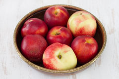 Nectarine in dish Royalty Free Stock Photography