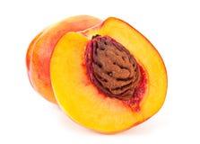 Nectarine fruit. Peach nectarine family fruit on white background Stock Image