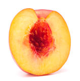 Nectarine fruit half isolated on white background cutout Royalty Free Stock Photos
