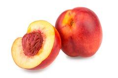 Nectarine fruit isolated on white background macro Stock Photos