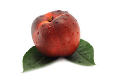 Nectarine and green leaves Royalty Free Stock Photography