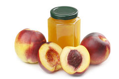 Nectarine and jam stock photos