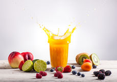 Nectarine Juice Splash Royalty Free Stock Images